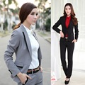 Formal Pantsuits Women Suits with Pant and Jacket Sets Winter 2017 Gray Blazer Terno Feminino Work Wear Office Uniform Styles