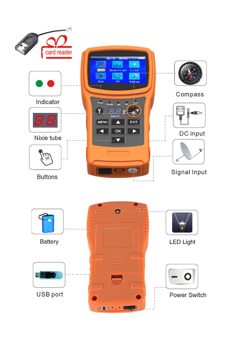 SF-710 Satellite Finder For Satellite TV Receiver Color Display DISEqC1.0 With USB/Compass Satellite Meter Support DVBS/DVBS2 generator avr r230