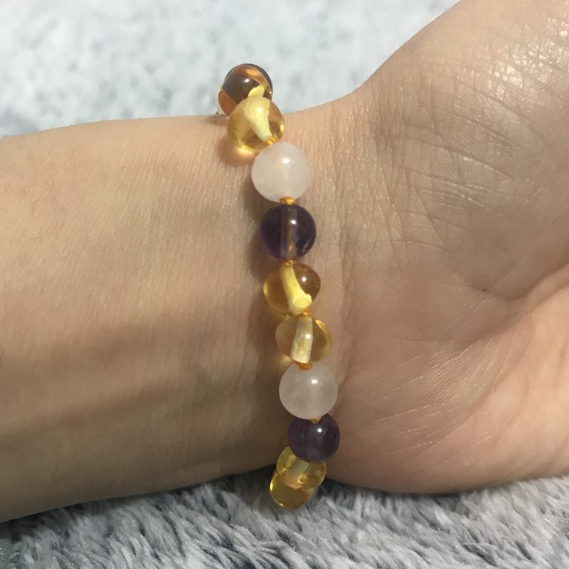 Yoowei Детские янтарный браслет для подарка Природный аметист розовый кварц Для женщин обычай украшения браслет Балтийского янтаря/Цепочки и ...
