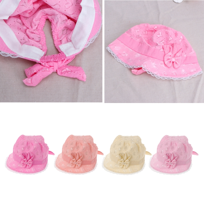 Baby Girls Hat Solid Lace Baby Tire Cap Summer Princess Hat With Bow Beanies Baby Accessories