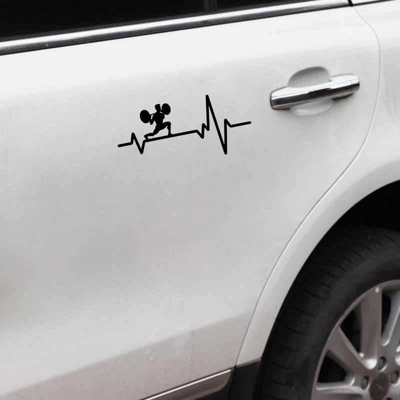 YJZT 16.8 CM * 7.8 CM רכב מדבקת משקל צלחת בר רגל נגיחת בחור פעימות לב ויניל שחור/כסף מדבקות c22-1251