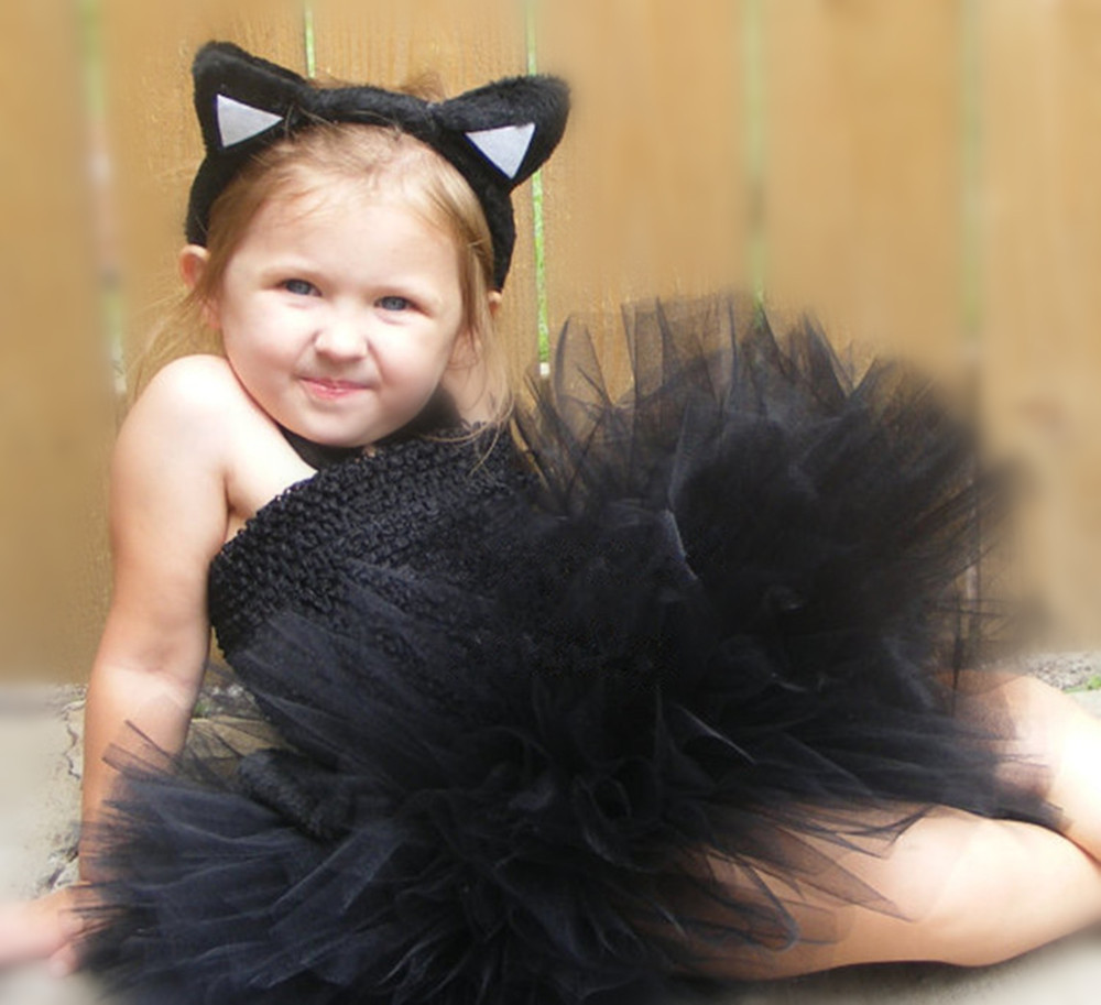 a6959f9f72 Cute Girls Black Cat Animal Tutu Dress Kids Fluffy 2Layers Corset Tulle  Ballet Tutus with Hairbow Children Party Cosplay Dresses-in Dresses from  Mother ...