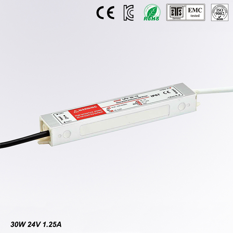 DC 24V 30W IP67 Waterproof LED Driver,outdoor use for led strip power supply, Lighting Transformer,Power adapter,Free shipping