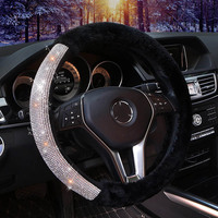 New Winter Plush Fur Car Steering Wheel Cover Diamond Crystal Steering Wheel Covers Interior Car Accessories For Women Girls