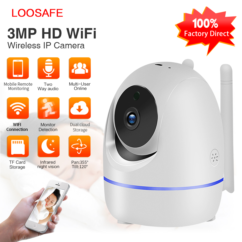 LOOSAFE 3.0MP Home Security IP Camera Wi-Fi Wireless Full HD Baby Monitor IRCut Night IR Automatic TrackingPTZ Cloud CCTV Cameas