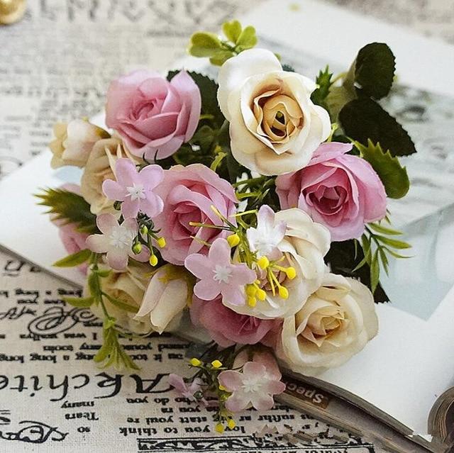 Printemps Petite Rose Bouquet De Soie Artificielle Fleur Fleur