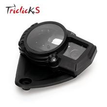 Triclicks Black Motorcycle Speedo Gauge Covers ABS Speedometer Meter Tachometer Gauge Case Cover For Suzuki GSXR 1000 2005-2006 motorcycle custom new speedometer tachometer gauge case cover fits for honda cbr1000rr 2004 2005 2006 2007 free shipping