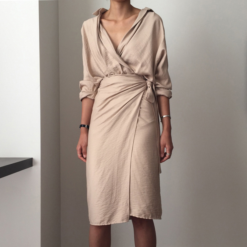 Casual Women's Dresses Linen Cotton V Neck Beige Long Sleeve Empire Summer Dress Mid-Calf Loose Female Dresses vestidos 7