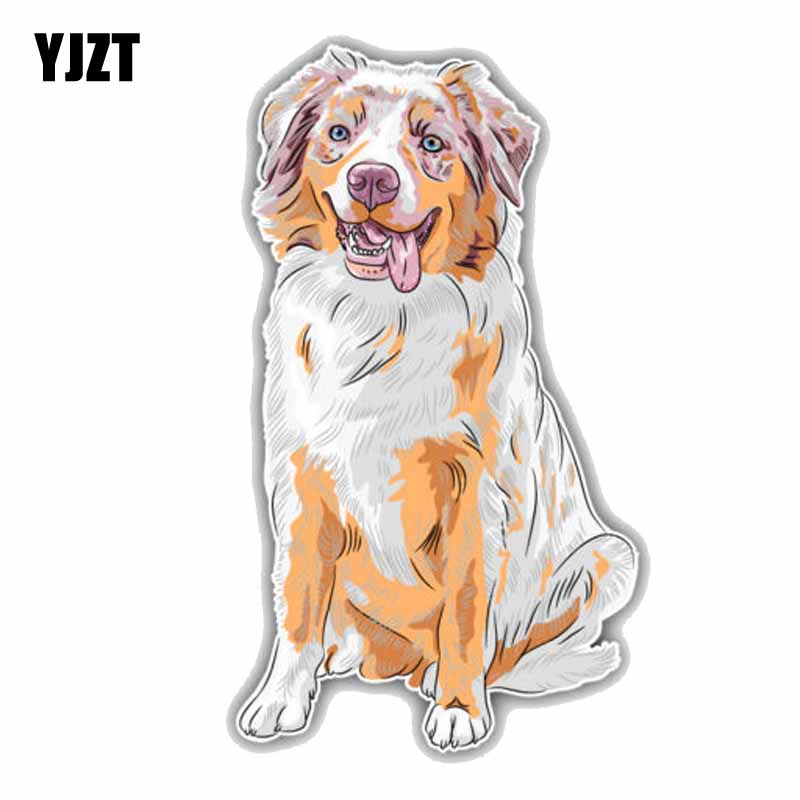 YJZT 8.3CMx15CM Australian Shepherd Dog Cartoon Fashion Car Decoration Sticker C1-9085
