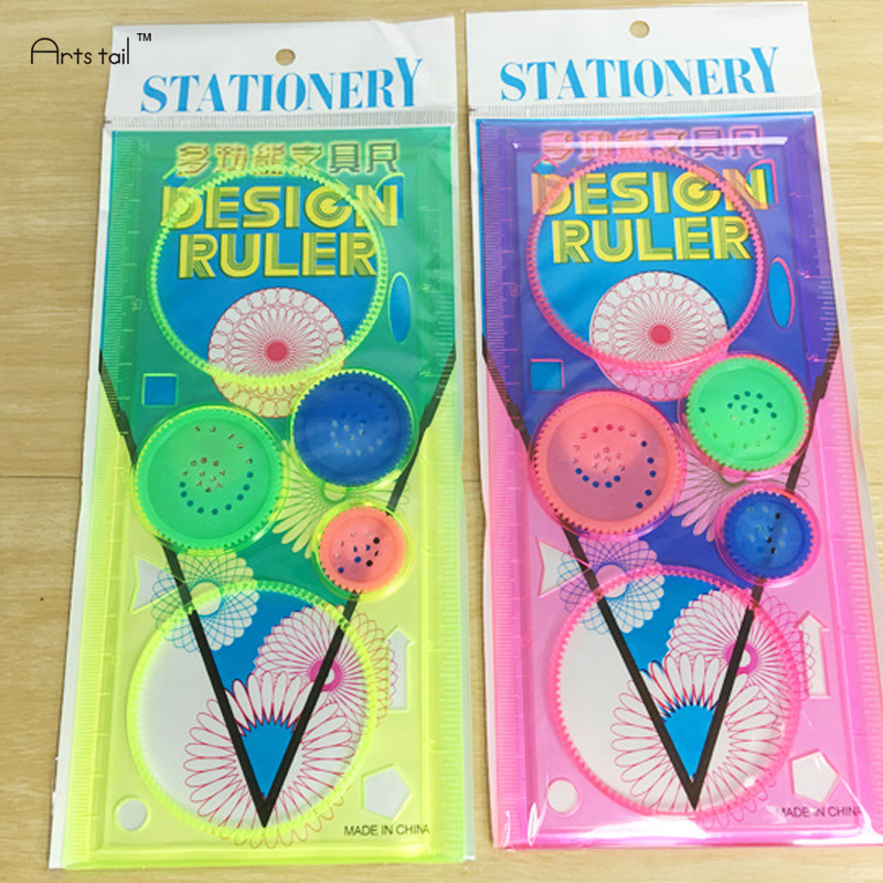 Magic Rulers Spirograph Drawing Universal Ruler Childrens Educational Toys Multifunction Variety School Stationery Kids Gifts