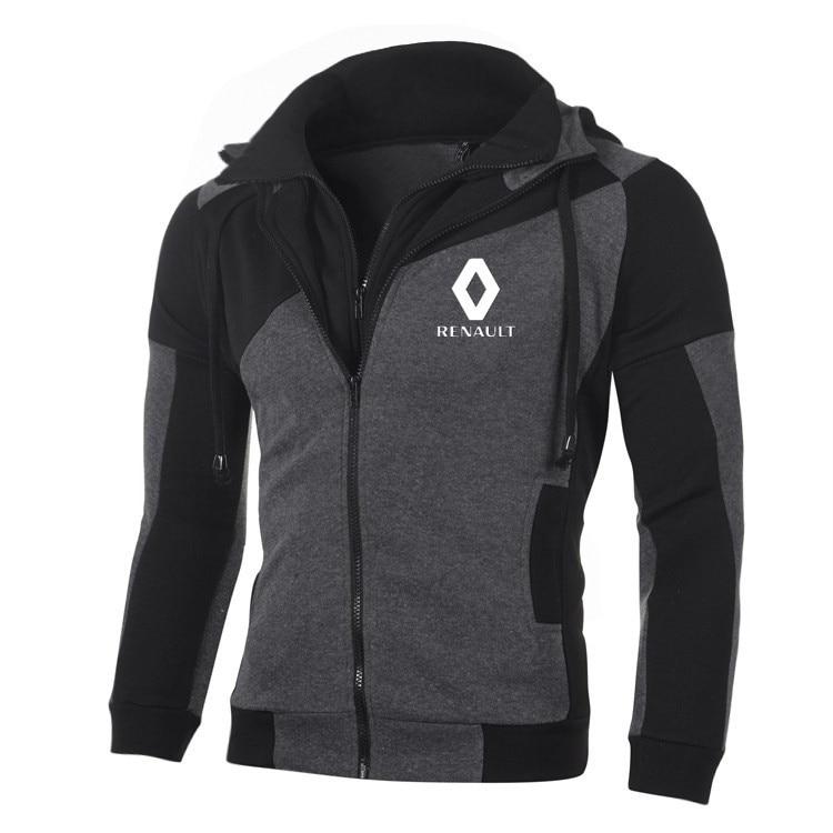 Logo Sweatshirt Hoodies Men Sports Jacket Long-Sleeve Fleece Casual Renault Double-Zipper