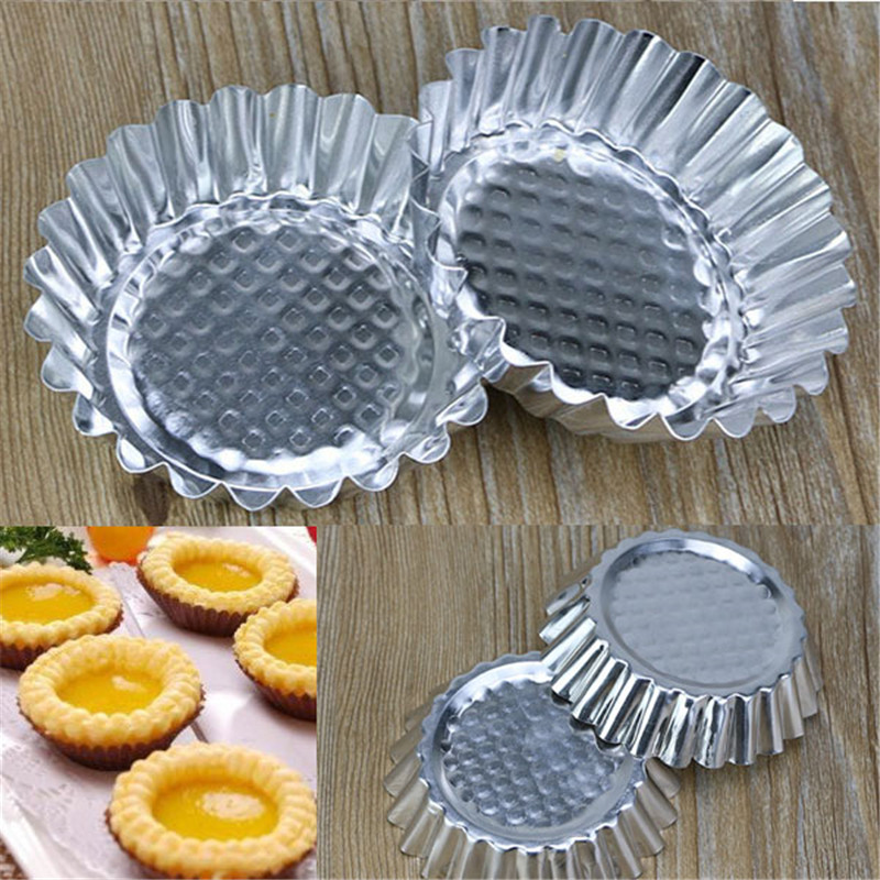 20Pcs/LOT Egg Tart Aluminum Cupcake Cake Cookie Mold Pudding Mould Tin Baking Tool P0.21-in Cake Molds from Home & Garden