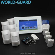 Pantalla a color TFT wireless GSM SMS Inicio de Alarma de Seguridad Antirrobo sistema IOS y Android APP controlado con 5 pir, 5 puerta sensor
