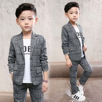 2018 Formal gray Children Suit Spring Autumn Boys Suits Kids Blazer Boys Formal Suit For Wedding Boys Clothes Blazer+Pants 4 12Y