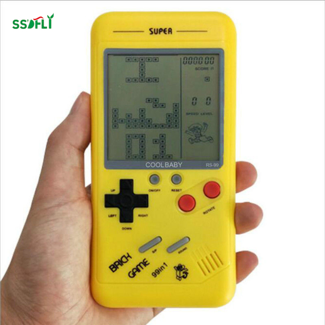 Small handheld game console for children Students classic nostalgia puzzle Built-in variety of games classic Tetris game