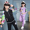 2017 Spring fall fashionable classic children's leisure sports suit girls printed stitching baseball collar two-piece simple