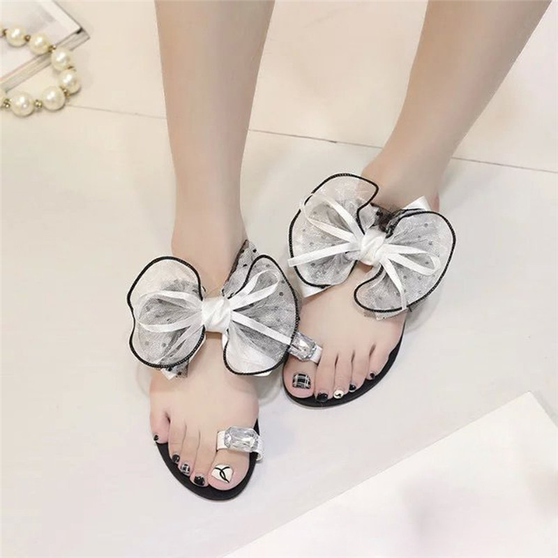 2017 Women casual slippers summer beach sandals Bow Tie Flat Sandals Girls Fashion Flip Flops Shoes pantufa zapatillas mnixuan women slippers sandals summer