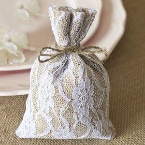 """Image 5 - Laço hessian presente cordão bolsa 10x15cm(4 """"x 6"""") pacote de 50 sacos de embalagem de serapilheira saco"""