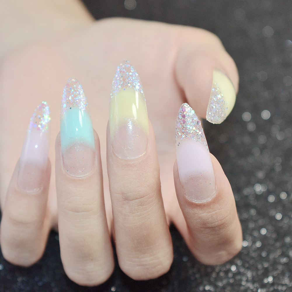 Bling Extra Long French Acrylic Nail Tips Sequins Glitter ...