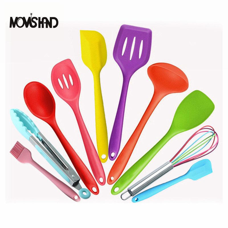 10pcs set silicone colorful baking utensils set kitchen for Colorful kitchen tools