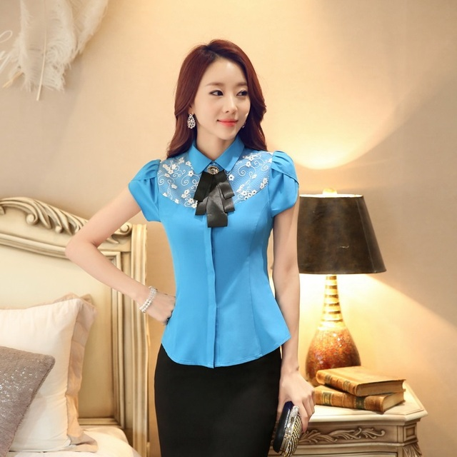 c25ca9bbe68 New 2015 Fashion Blouses Women Summer Shirts Blue Short Sleeve Work Wear  Ladies Office Uniform Blouses and Tops OL Style