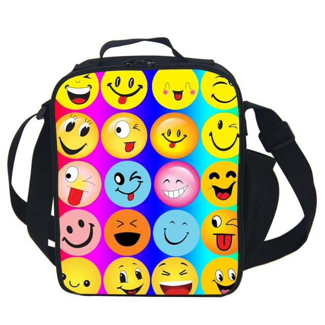 Awsome Vivid Kids Lunch Box Rainbow Emoji Lunch Bags Insulated For Children Gifts Thermal Food Picnic Bags