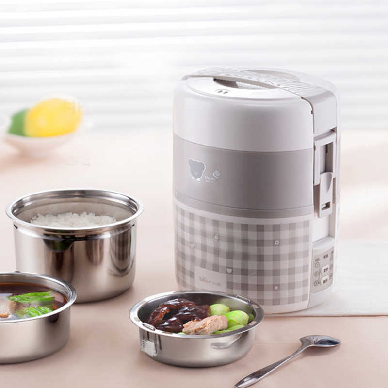 Bear 2L Electric Lunch Box Rice Cooker Three Floors Insulation Pluggable Heating Vacuum Appointment Timing Preservation