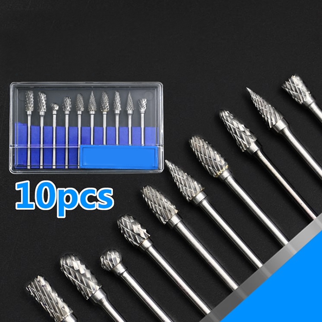 10pcs 1/8 Shank Tungsten Carbide Milling Cutter Rotary Drill Set Cone Drill Set Diamond Drill 10mm For Iron ,Steel ,Carbon Steel цены онлайн
