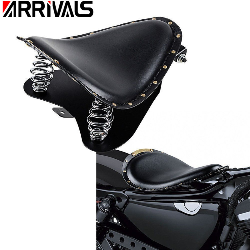 Black Leather Driver Solo Seat & Baseplate& Springs& Mount Bracket For Harley Sportster XL 1200 883 Fat boy Electra Glide boy and going solo