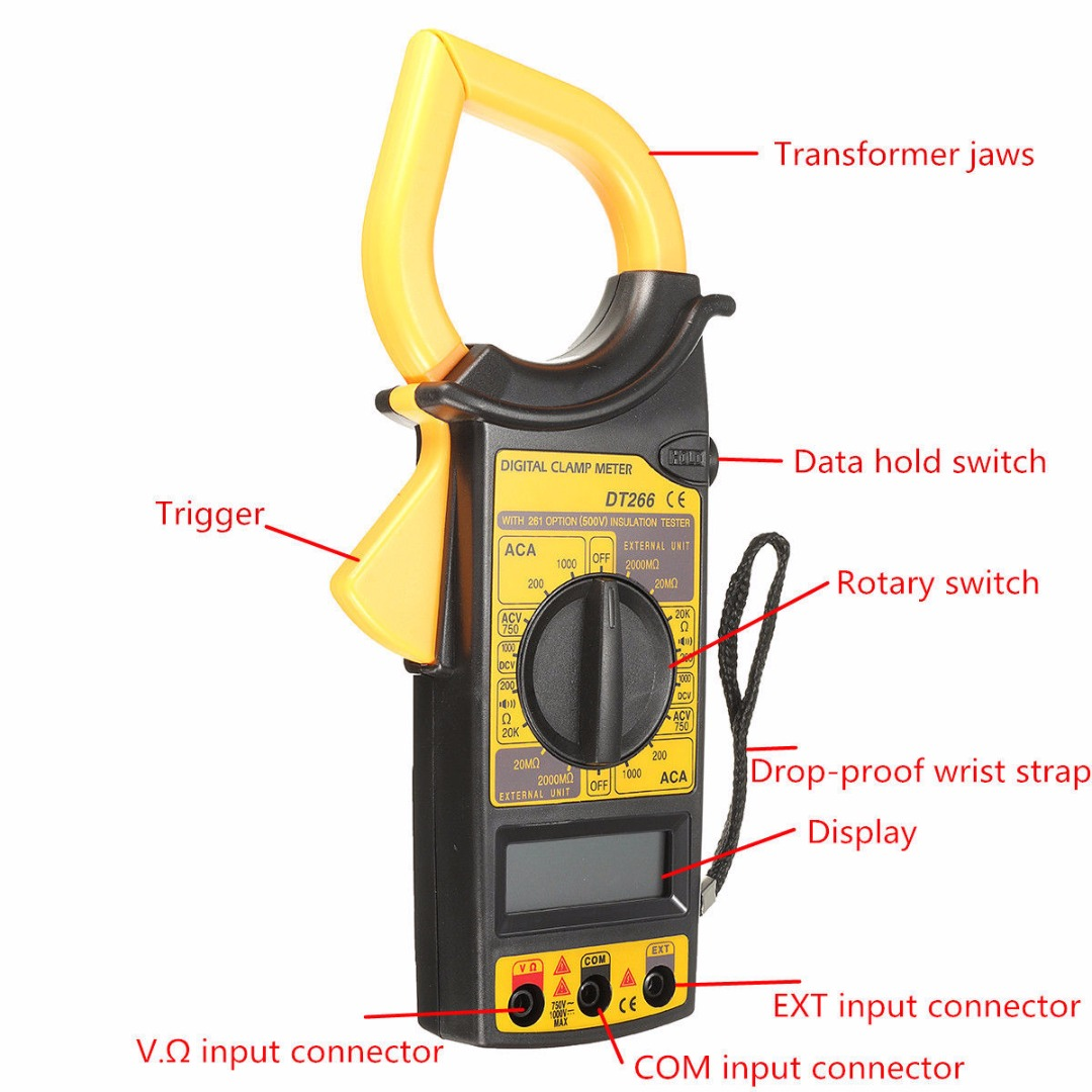 New DT266 Clamp Meter AC/DC Current Voltage Tester LCD Digital Multimeter Measuring Tools + Test Cable