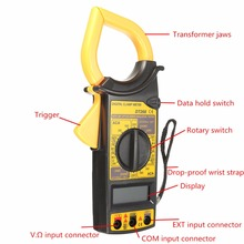 New DT266 Clamp Meter AC/DC Current Voltage Tester LCD Digital Clamp Multimeter Measuring Tools + Test Cable dt266 electronic digital clamp meter multimeter ac dc current voltage tester tool
