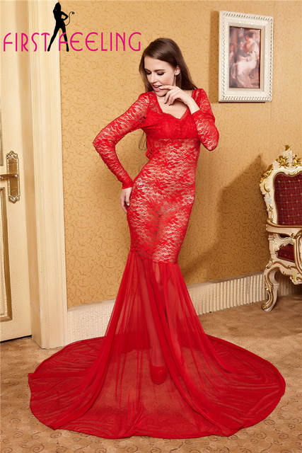 Online Shop Luxury Sexy Red Full Lace Embroidery Elegant Maxi Gowns ...