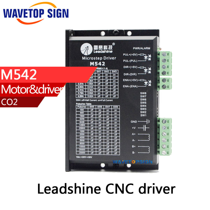 Leadshine 2 Phase Analog Stepper Driver M542 Max 50 VDC 4.2A for Stepper Motor NEMA 23 leadshine 2 phase microstep driver m542 05 step motor driver 20v 50vdc 1 2a 5 04a for cnc router