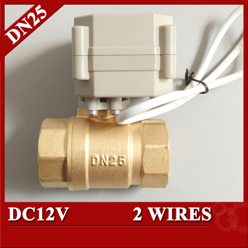 1''  DC12V electric ball valve 2 wires(CR201), DN25 brass motorized ball valve for solar heating systems