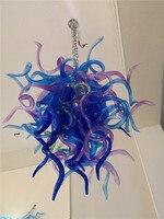 Выдувное художественное стекло люстра освещение синий цвет небольшой размер дешевые люстры из муранского стекла