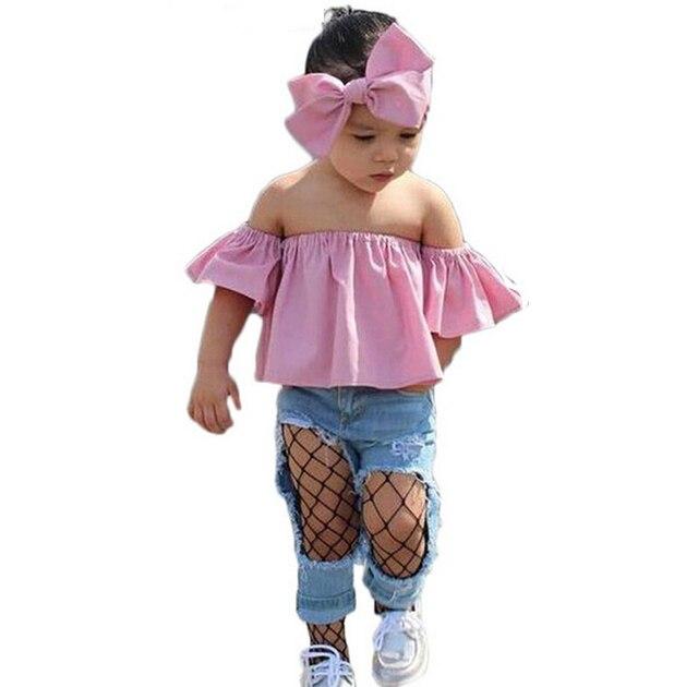 2018 New Design Toddler Kids Girl Clothes Set Off Shoulder T Shirt