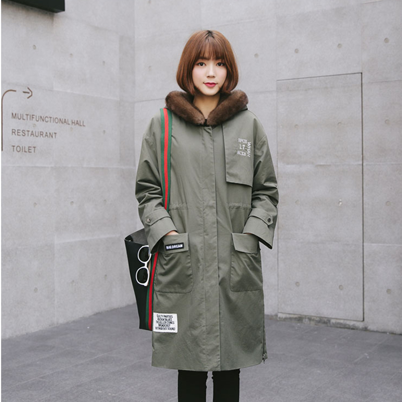 Direct supply from factory Winter Fashion Long style women coats Parka Camel s hair Genuine leather