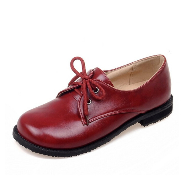 Women Oxfords Autumn High Quality Platform Flats Solid PU Leather Shoes Woman Lace-up Casual Creepers Size Plus 35-43 XWD4085