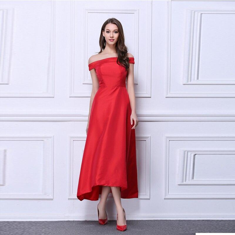 2019 Gracieuse Rouge Satin Longue Robes De L'épaule Slash cou Étage Longueur Noir Rouge Femmes tenue de fête