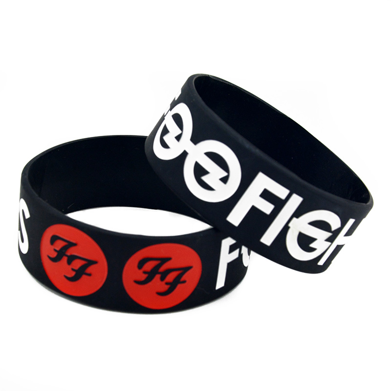 OBH 25PCS One Inch Wide Foo Fighters Silicone Wristband for Music Fans image