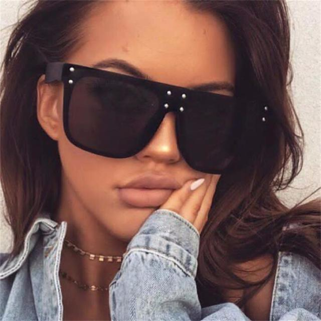 d31e7743f73 New Flat Top Sun Glasses Oversized Goggles Mens Square Sunglasses Women  Fashion Famous Brand Rivet Black