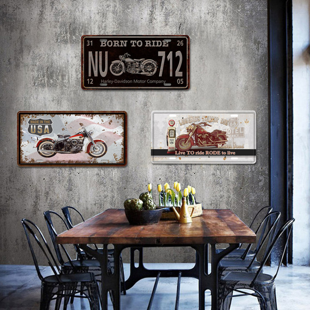 Whole 15 20cm Vintage Retro Style Motorcycle Pattern Metal Tin Sign Poster Plaque Club Coffee