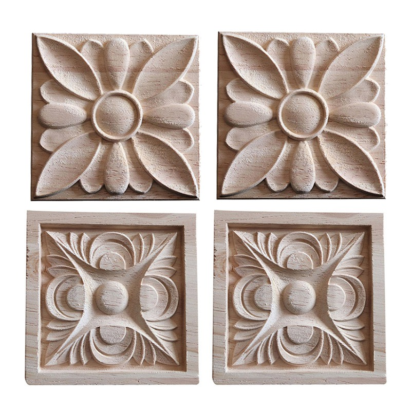 Chinese Elements Circular Wood Carved Decal Corner Applique ...