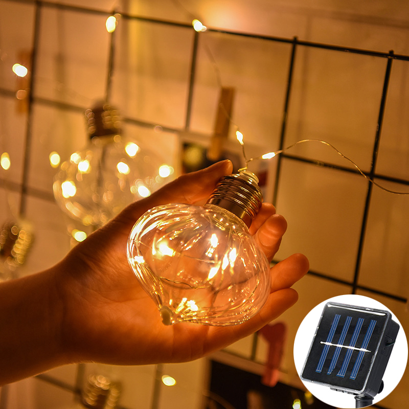10 Retro Bulbs LED Garland Solar Copper Wire String Fairy Lights Festoon Party Lights for Home Events Garden Party Wedding Decor