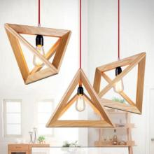 Vintage Cord E27 Chandelier Triangle Wood Retro Light Fixtures Loft Style Lighting Kids Room Led Lustres E Pendentes