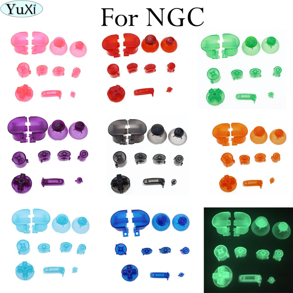 YuXi Y X A B crystal color For Gamecube Controller Mod Colorful Complete button set with