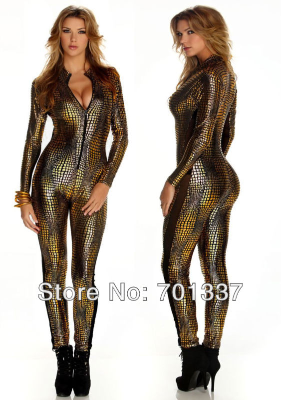 Black Or Gold Sexy Lingerie  Gothic Fashion Overall Catsuit Jumpsuits & Playsuits Costume Club Wear B7125