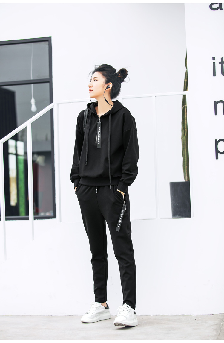 Double puppet suit women casual 17 spring new solid hooded two piece set zipper long sleeve 371009 8