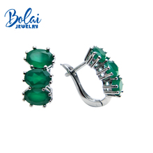 Bolaijewelry,natural green agate oval 5*7mm gemstone clasp earring 925 sterling silver fine jewelry women Christmas gift box