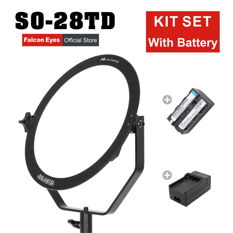 Светильник для видеосъемки Falcon Eyes, 28 Вт, светодиодный мягкий светильник для фотосъемки, Круглый студийный светильник, комплект для видеосъе